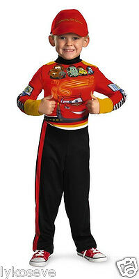 Boys Cars 2  Lightning Mcqueen Pit Crew  Costume NW FREE SHIP W/BUY IT NOW - Cars Lightning Mcqueen Costume