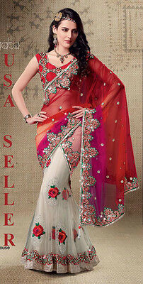 Indian Bollywood Designer Party Wear Wedding Bridal Embroidery Lehenga Saree