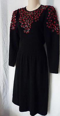 Jennifer Roberts Santana Strick Pailletten Bestickt Schwarzes Kleid 6 ()