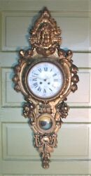 Superb Mid-19th C. 48 FRENCH CARVED GILT WOOD Figural Clock  c. 1960  antique