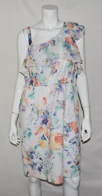 Women Calvin Klein Floral Print One Shoulder Belted Dress 14 10271 Calvin Klein Belted Cotton Dress