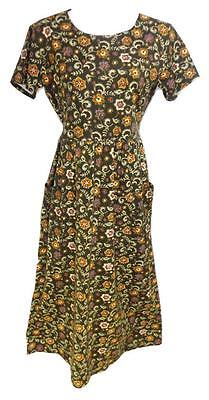 NEW BROWN SIZE Small COLONIAL FLORAL TIE BACK POCKET FRONT MAXI WOMEN DRESS - Colonial Clothing For Women