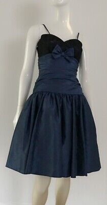 80s Dresses | Casual to Party Dresses Navy Blue 1980's Vintage Ruched Waist Netted Underskirt Prom Dress $19.51 AT vintagedancer.com