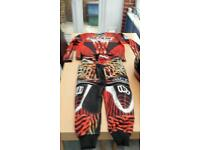 Motocross protective gear top trousers helmet boots goggles