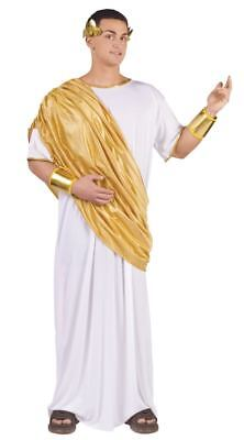 Mens Adult Roman Royal Hail Caesar White & Gold Toga Robe Costume Outfit (Caesar Outfit)