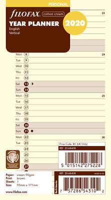 Filofax Refill - Vertical Planner Cream Paper - Personalcompact - English 2020