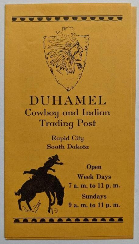 VINTAGE DUHAMEL TRADING POST, RAPID CITY, South Dakota ADVERTISEMENT BROCHURE