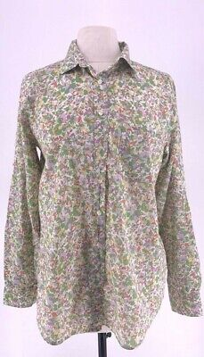 Gap Womens Button Front Shirt Green Floral Long Sleeve Roll Tab 100% Cotton L Tab Front Shirt