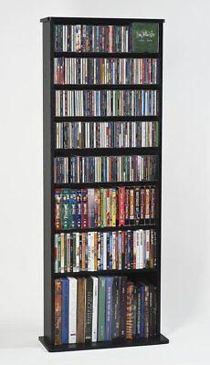 Leslie Dame CDV-500BLK High Capacity Oak Veneer Multimedia Storage Rack in Black