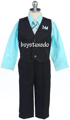 New Boy's Black 4 Piece PinStripe Suit Formal Vest Aqua Dress Shirt All - Formal Boy Black Suit