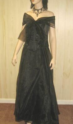 STRAPLESS BLACK GOWN Evening Prom Dress CORSET BUSTIER 14 16 1x JR PLUS SIZE xl Corset Prom Gown
