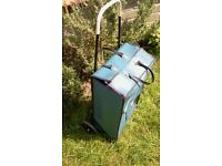 Shopping trolley, two wheeled, bag easily attaches and detaches for hand carry.