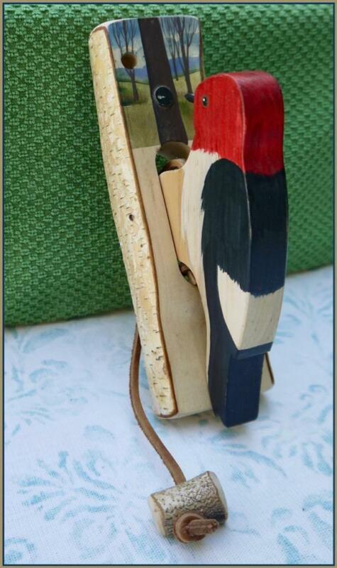 Woodpecker Door Knocker - Folk Art / Hand painted / Made in Canada
