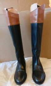 Women office shoes kneehigh boots 100% leather size 4