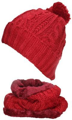 - Best Winter Hats Adult Cable & Rib Knit Beanie & Neck Warmer Set #405 Red