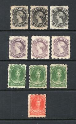 Nova Scotia - Small Lot of Mint Stamps - OG MH - SC# 8, 9, 11 & 12   No Reserve!