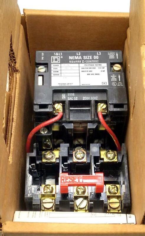 New Square D  8536 SA0-12  Motor Starter Relay 9 Amp 600 VAC Size 00 Series B