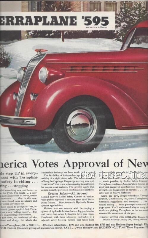 Vintage Hudson, 1936 Terraolane, Saturday Evening Post 2 Page Advertisement