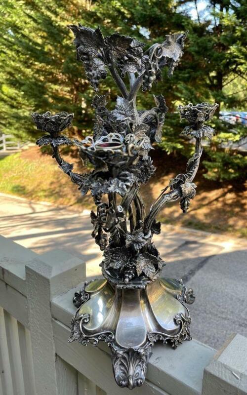 Incredible Grape Vine Late 19C Silver Plate CENTER PIECE Candelabra Epergne