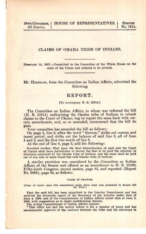 Cmte. on Indian Affairs-Claims of Omaha Tribe of Indians