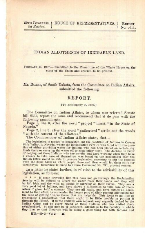 Cmte. on Indian Affairs-Indian Allotments of Irrigable Land