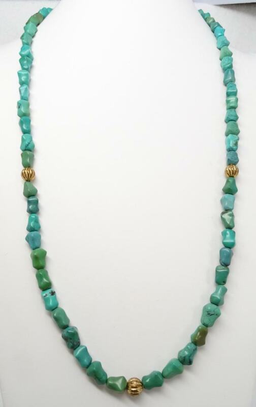 """Antique Chinese Turquoise Nugget Knuckle Bead 32"""" Necklace Beautiful Patina 90g"""