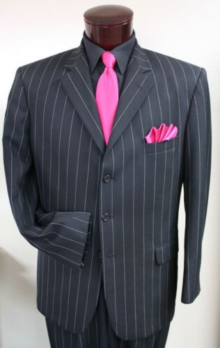 Nice Black White Stripe Suit Tuxedo Gangster Prom Tux Zoot Coat Pants TUXXMAN