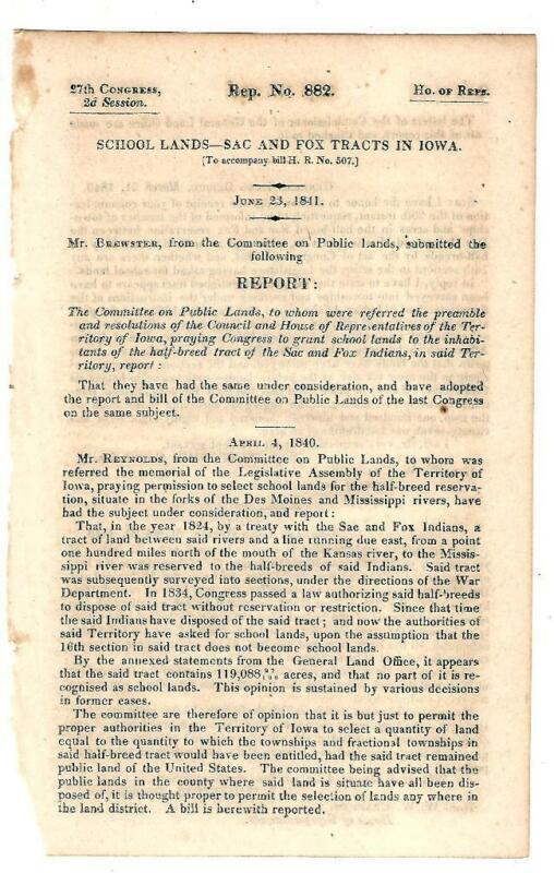 1841 Comte. Public Lands: School Lands - Sac & Fox Indian Tracts In Iowa
