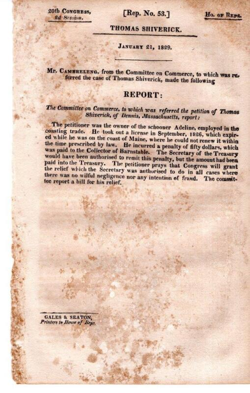 Cmte on Commerce 1/21/1829- Petition of Thomas Shiverick asking for relief of pe