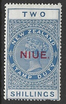NIUE :1918 2/- overprint on New Zealand Fiscal stamp   SG33  mint hinged