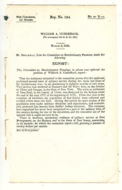 Cmte. Revolutionary Pensions: William A. Cuddeback Pension Request