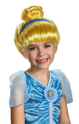 Mädchen Kind Disney Prinzessin Dlx Cinderella Glitzer Blond Kostüm Perücke mit - Cinderella Kostüm Perücke