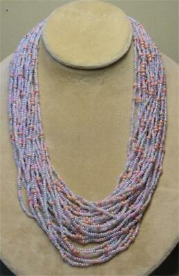 """JOAN RIVERS GOLD PLATED PINK & GRAY SEED BEAD TORSADE 36"""" NECKLACE NEW IN BOX"""