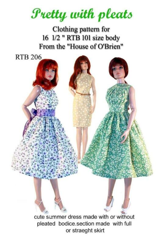 RTB206 Pretty with Pleats dress pattern to fit Grace and other RTB101 bodies