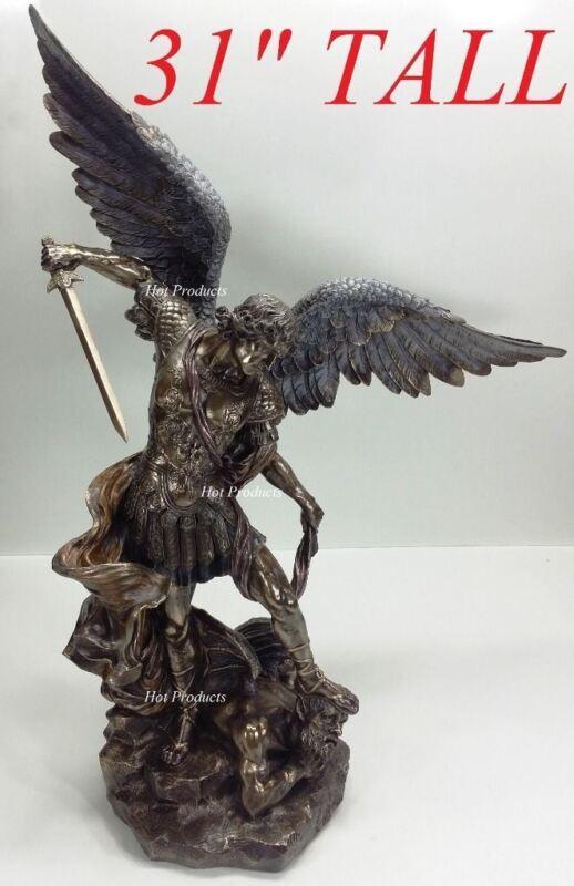 """LARGE 31"""" *** ST MICHAEL ARCHANGEL TRAMPLES DEMON Statue Sculpture Bronze Finish"""
