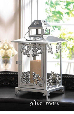 Victorian Cottage Gardens - silver filigree shabby cottage Candle holder lantern victorian outdoor garden