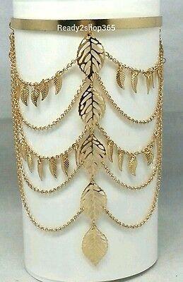 Leaf Gold Bangle Armlet Armband Bracelet Tassel Harness Chain Upper Cuff Women  (Gold Arm Bands)