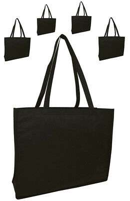 Lot 10 Reusable Shopping Bag Black Grocery Bags Eco Bag Shopping Gift Wide Large