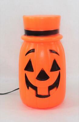 Vintage Halloween Jack-O-Lantern With Hat Lite Up Blow Mold