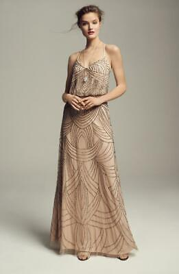 Adrianna Papell Beaded Chiffon Blouson Gown-Size 10 -