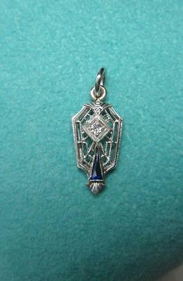 Art Deco Diamond Sapphire Pendant Necklace 14K White Gold 1900 Edwardian Wedding