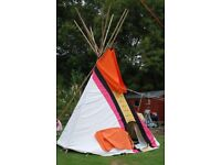 Authentic, quality handmade 12 ft canvas tipi ( teepee) tent, Quality Coloured canvas, mint cond.
