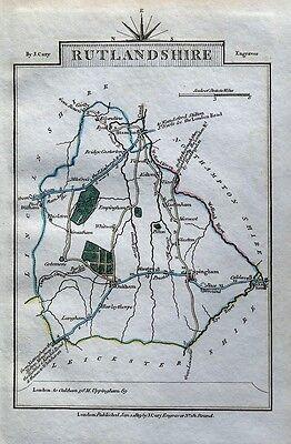 RUTLAND John Cary Original Hand Coloured Miniature Antique County Map 1819