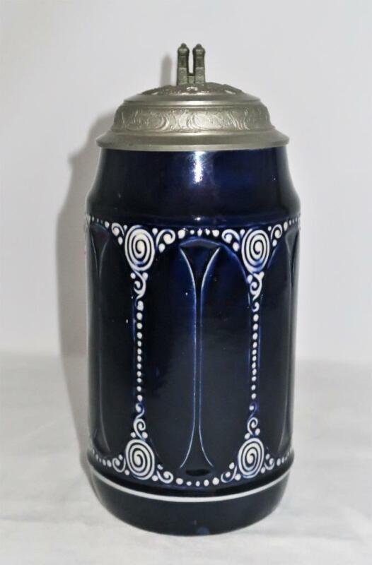 "Vintage Beer Stein, München, Kunst u Bier Gibts Allhier Cobalt Flow Blue, 9"""
