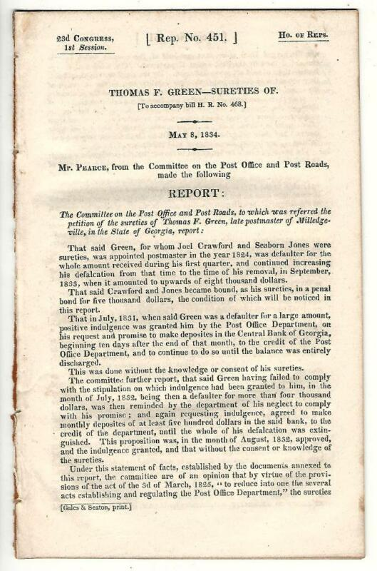 Cmte. Post Office & Post Roads Re: Sureties of Thomas F. Green Relief