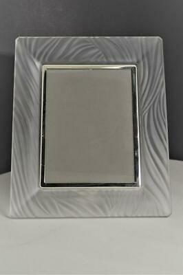 """Vintage 5 1/2 x7 1/4"""" Frosted Crystal Glass Picture Frame"""