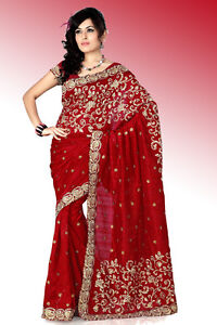 FASHIONABLE RED BRIDAL WEAR SARI INDIAN BOLLYWOOD DESINGER ZARI WORK SAREE