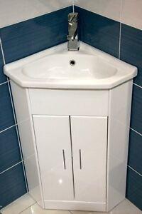 Corner Wash Basin Units : ... White Compact Corner Bathroom Vanity Unit Ceramic Basin Sink FREE Tap