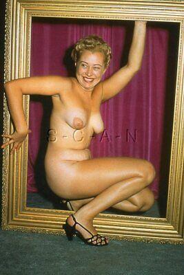 Vintage Nude 1950s-60s 35mm Slide / Negative- Well Endowed Blond- Picture Frame