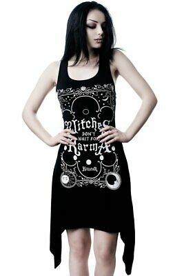 Killstar Karma Lace Up Witch Gothic Punk Moons Suns Black Tunic Dress KSRA001098